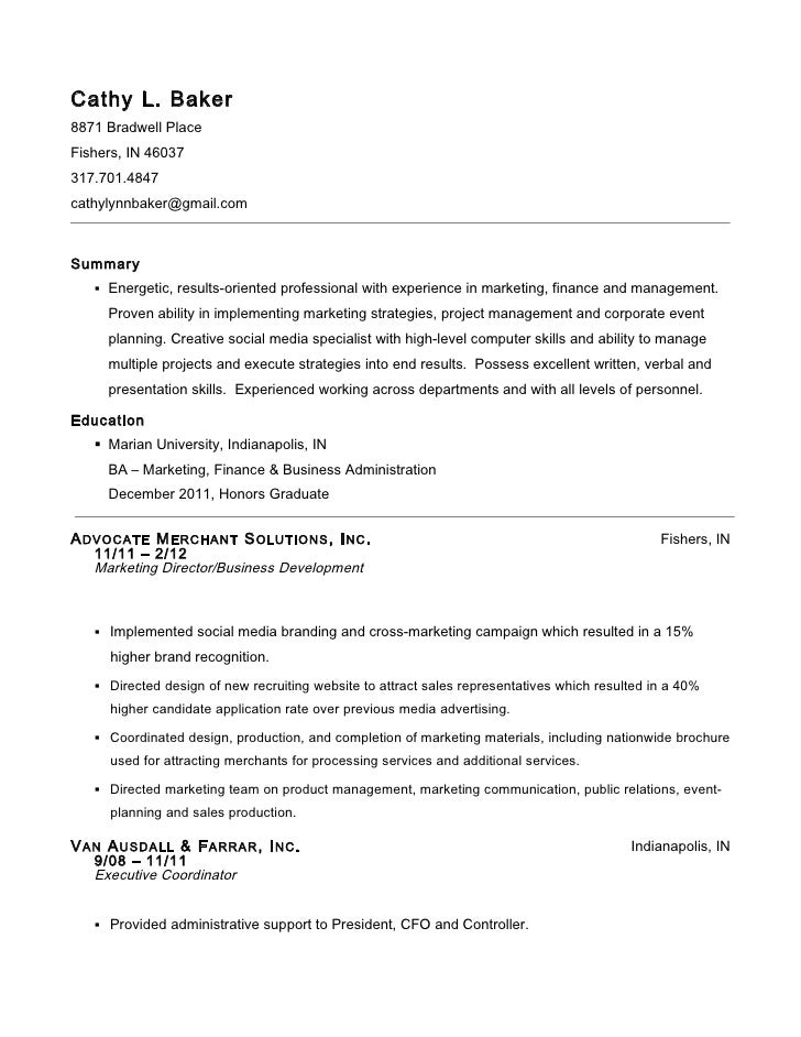 Captivating Cathy L Baker Resume. Cathy L. Baker8871 Bradwell PlaceFishers, IN  46037317.701.4847cathylynnbaker@gmail.  Baker Resume