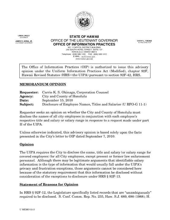LINDA LINGLE      GOVERNOR                        STATE OF HAWAII JAMES R. AIONA, JR.        OFFICE OF THE LIEUTENANT GOVE...