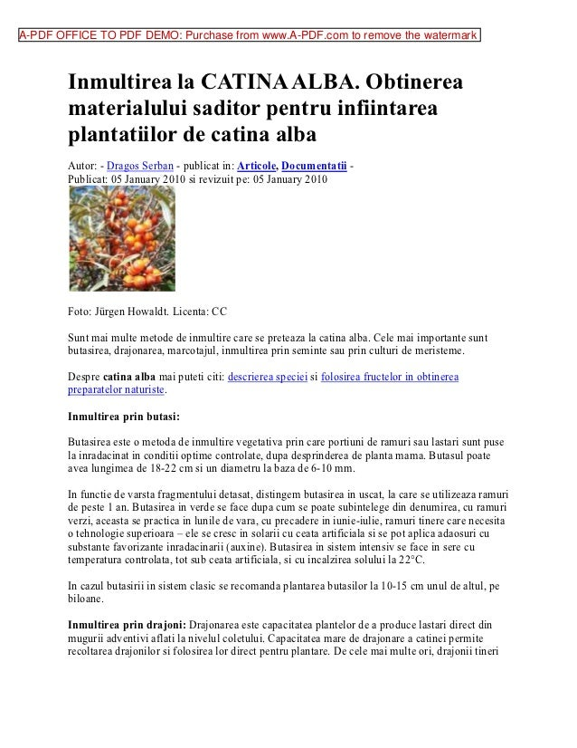 A-PDF OFFICE TO PDF DEMO: Purchase from www.A-PDF.com to remove the watermark        Inmultirea la CATINA ALBA. Obtinerea ...