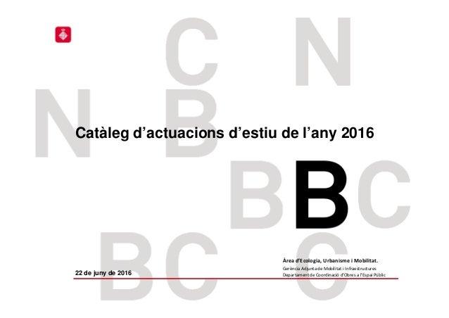 ICU – ECOLOGIA, URBANISME I MOBILITAT Catàleg d'actuacions d'estiu de l'any 2016 Àread'Ecologia,UrbanismeiMobilitat. G...