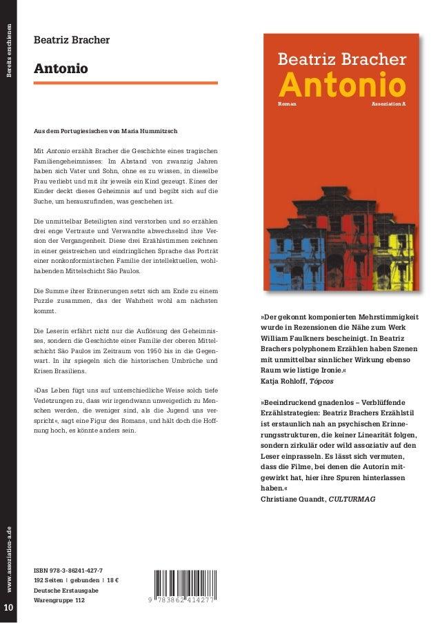 Bereits erschienen  Beatriz Bracher  Beatriz Bracher  Antonio  Antonio Roman  Assoziation A  Aus dem Portugiesischen von M...