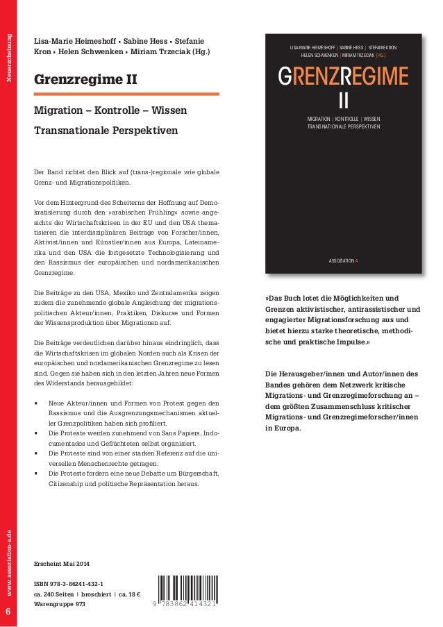 Grenzregime II  Migration – Kontrolle – Wissen Transnationale Perspektiven  Vor dem Hintergrund des Scheiterns der Hoffnun...