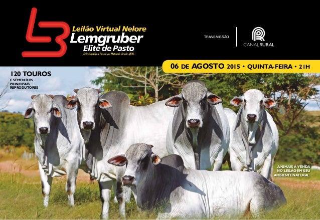 06 DE AGOSTO 2015 • QUINTA-FEIRA • 21H TRANSMISSÃO E SÊMEN DOS PRINCIPAIS REPRODUTORES 120 TOUROS ANIMAIS À VENDA NO LEILÃ...