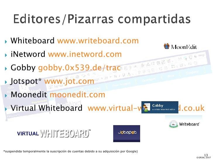 <ul><li>Whiteboard  www.writeboard.com </li></ul><ul><li>iNetword  www.inetword.com </li></ul><ul><li>Gobby  gobby.0x539.d...