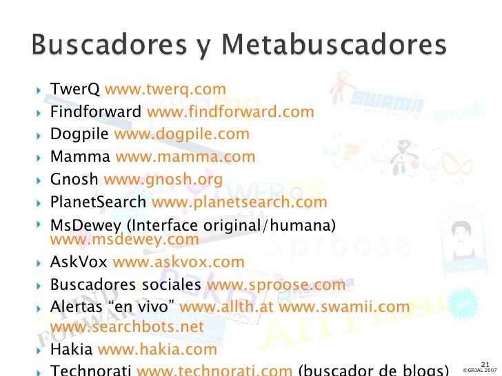 <ul><li>TwerQ  www.twerq.com </li></ul><ul><li>Findforward  www.findforward.com </li></ul><ul><li>Dogpile  www.dogpile.com...