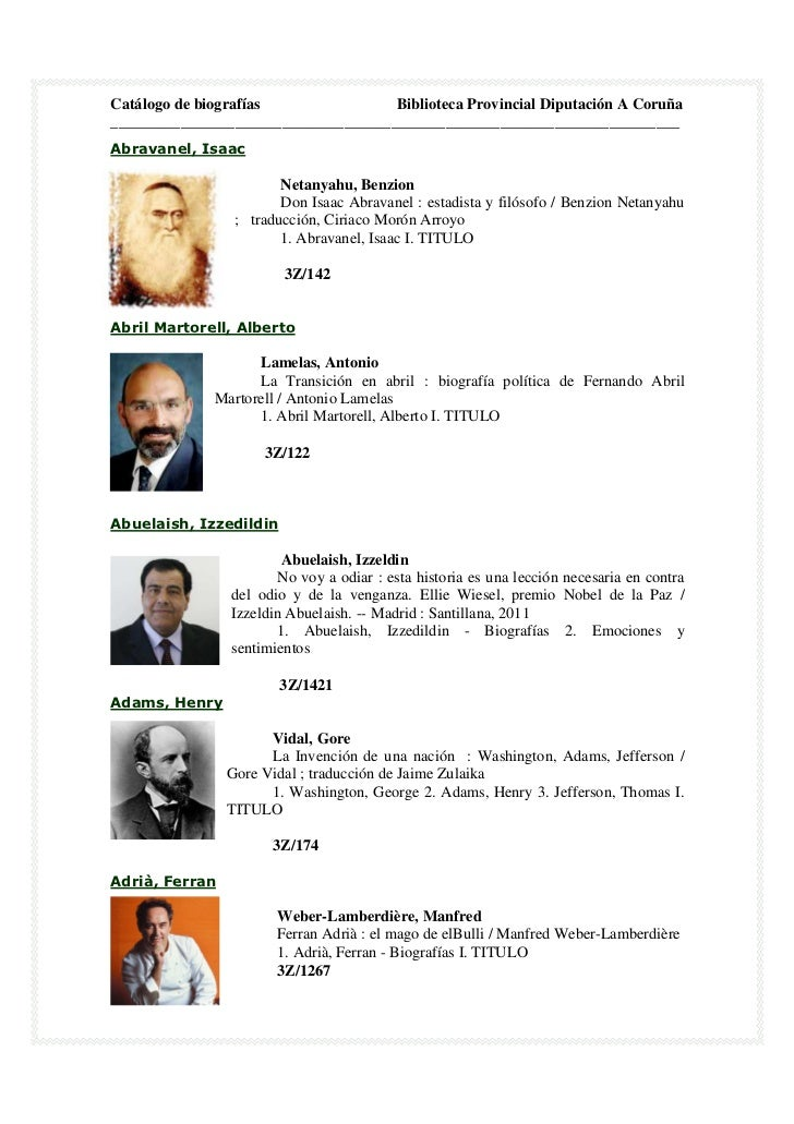 Catálogo de biografías               Biblioteca Provincial Diputación A Coruña____________________________________________...