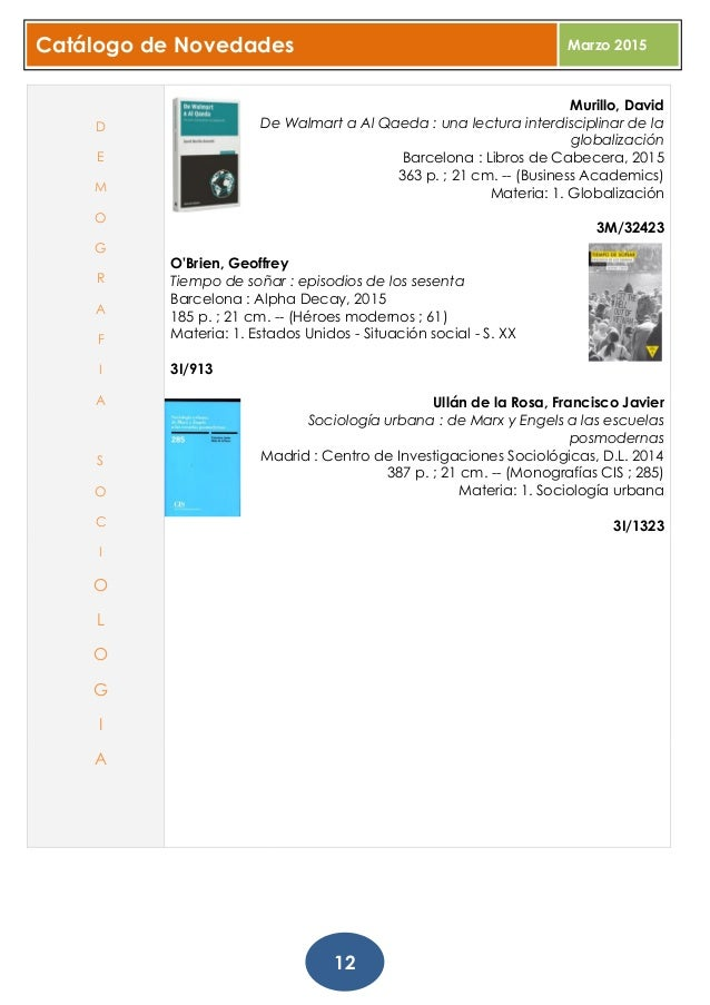 Catálogo de novedades marzo 2015. Biblioteca Provincial A Coruña