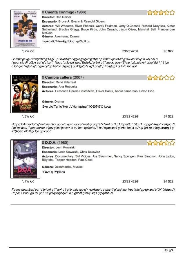 Catálogo de películas productora calles