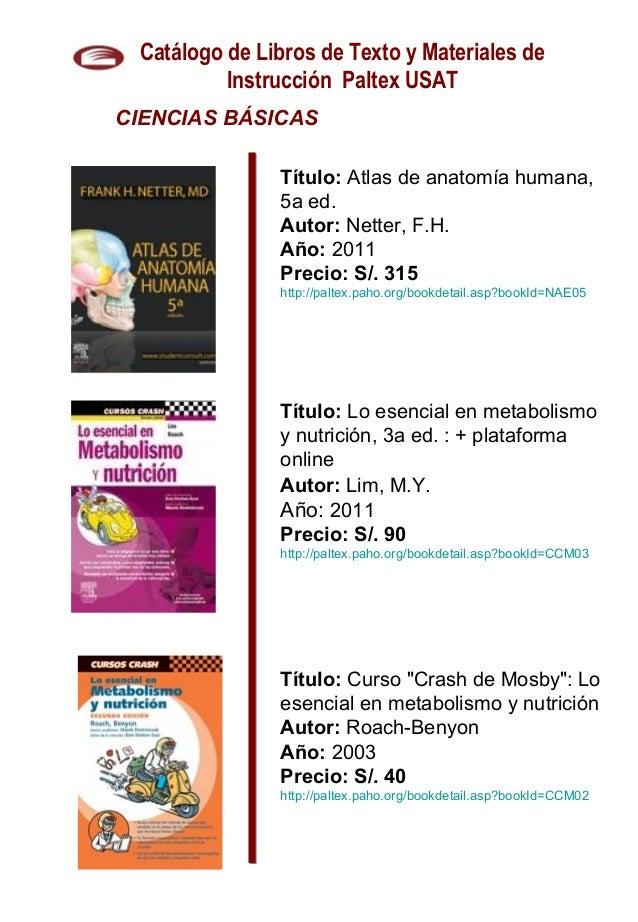 Catálogo de Libros e Instrumentos Médicos Paltex OPS