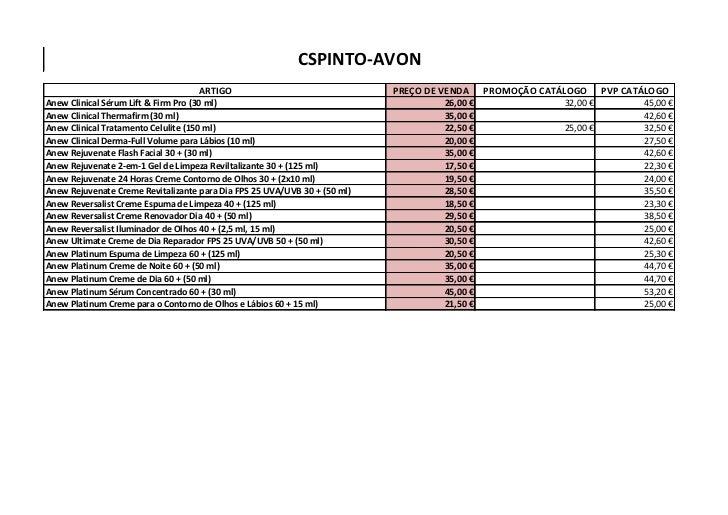 CSPINTO-AVON                                    ARTIGO                                 PREÇO DE VENDA     PROMOÇÃO CATÁLOG...
