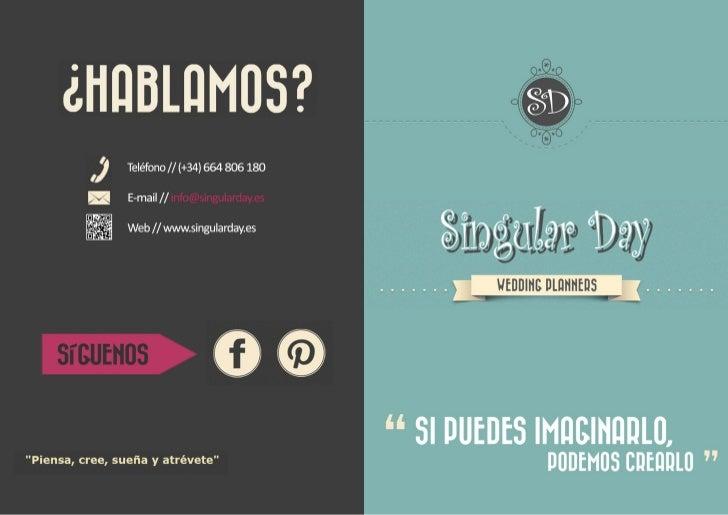 Catálogo servicios singular day planificación bodas