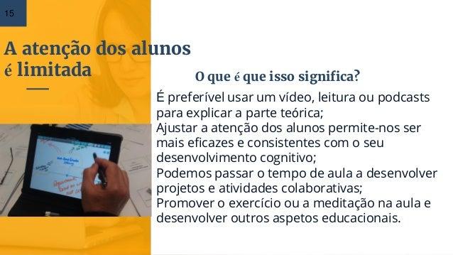 A atenção dos alunos é limitada 15 É preferível usar um vídeo, leitura ou podcasts para explicar a parte teórica; Ajustar ...