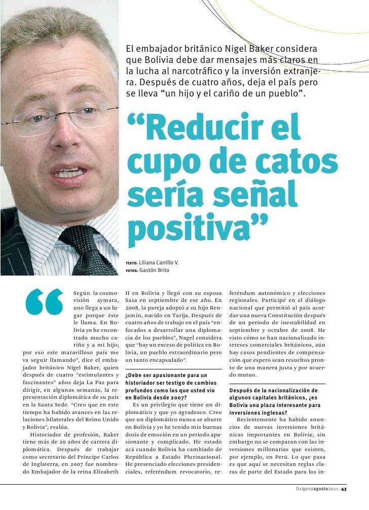 El embajador británico Nigel Baker considera                                         que Bolivia debe dar mensajes más cla...