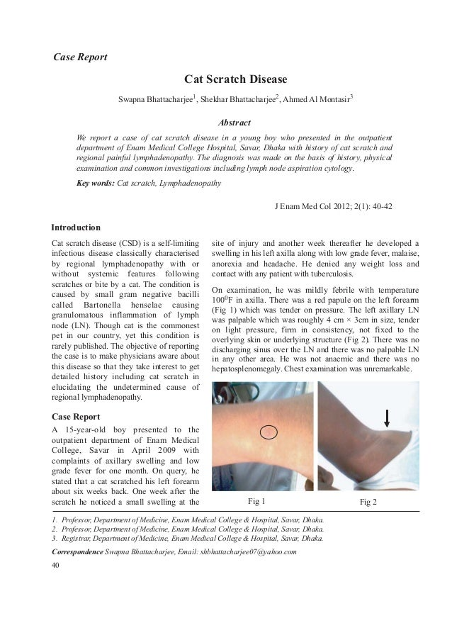 Abstract We report a case of cat scratch disease in a young boy who presented in the outpatient department of Enam Medical...