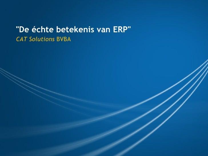 """""""De échte betekenis van ERP"""" CAT Solutions  BVBA"""