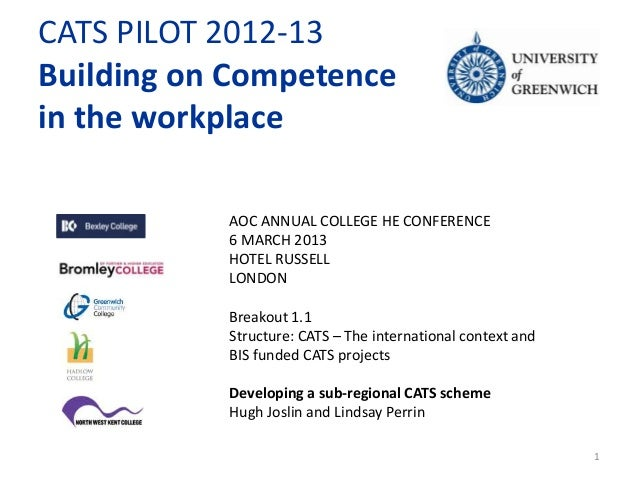 CATS PILOT 2012-13Building on Competencein the workplace           AOC ANNUAL COLLEGE HE CONFERENCE           6 MARCH 2013...