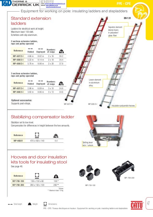 47 Equipment for working on pole: insulating ladders and stepladders PPE - CPE PPE - CPE / Travaux électriques en hauteur ...