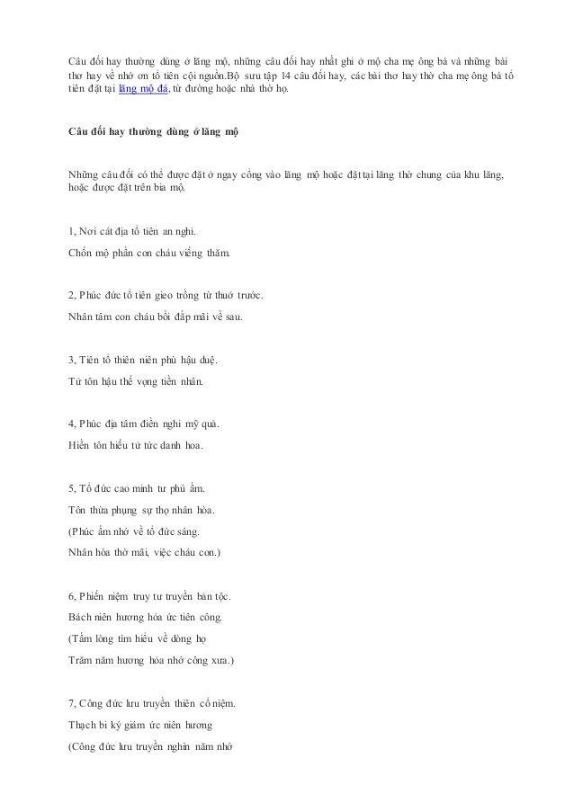 Câu đối hay thường dùng ở lăng mộ, những câu đối hay nhất ghi ở mộ cha mẹ ông bà và những bài thơ hay về nhớ ơn tổ tiên cộ...