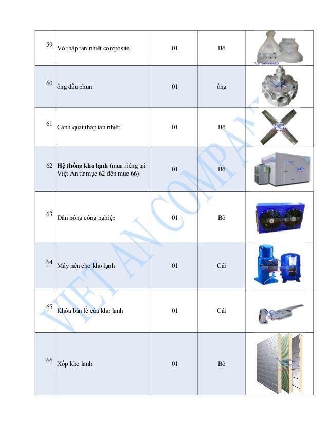 59 Vỏ tháp tản nhiệt composite 01 Bộ  60 ống đầu phun 01 ống  61 Cánh quạt tháp tản nhiệt 01 Bộ  62 Hệ thống kho lạnh (mua...