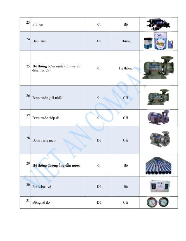 23 Fill lọc 01 Bộ  24 Dầu lạnh Đủ Thùng  25 Hệ thống bơm nước (từ mục 25  đến mục 28) 01 Hệ thống  26 Bơm nước giải nhiệt ...