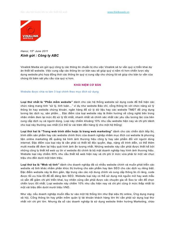 Bản câu hỏi trước khi tư vấn thiết kế web                            www.thietkeweb.vnHanoi, 15th June 2011Kính gửi : Công...