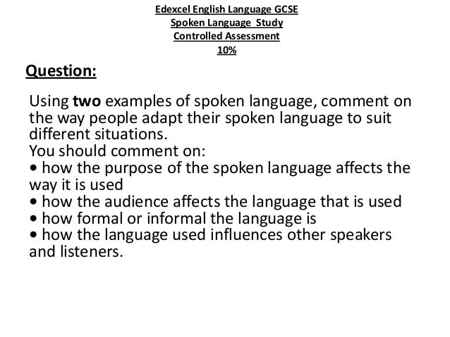Spoken language transcript essay topics