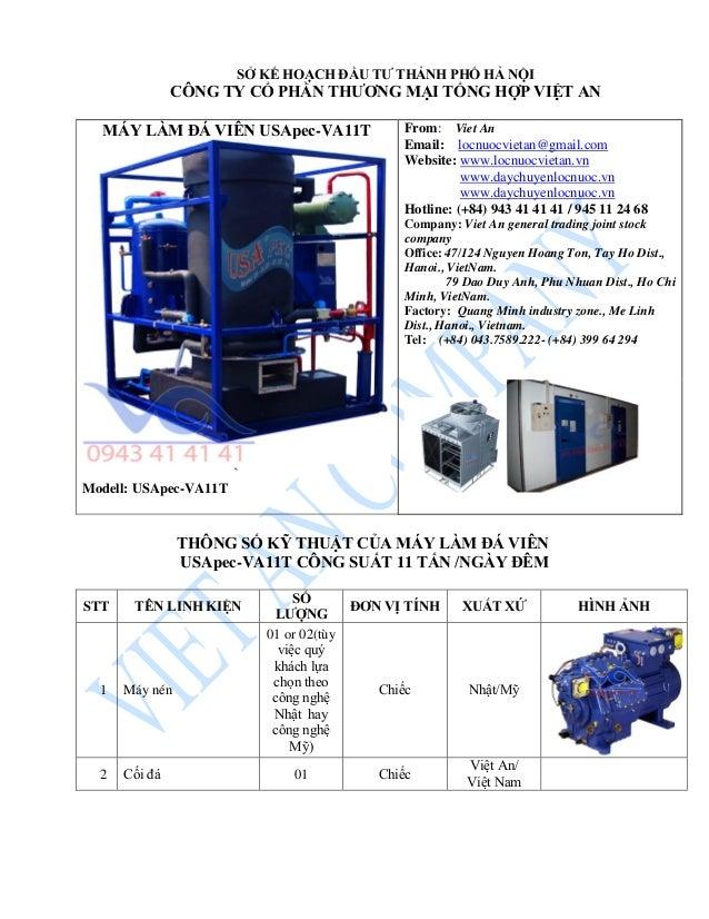 MÁY LÀM ĐÁ VIÊN USApec-VA11T ` Modell: USApec-VA11T From: Viet An Email: locnuocvietan@gmail.com Website: www.locnuocvieta...