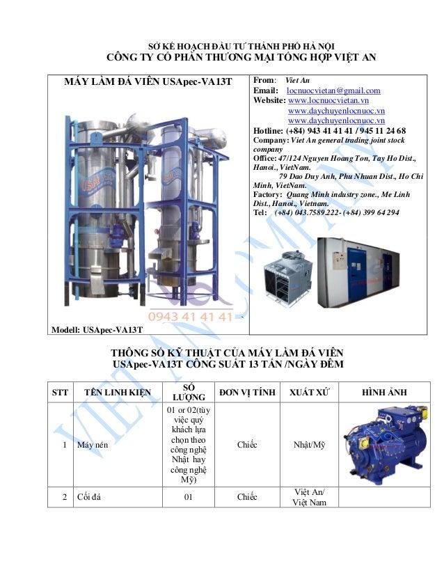 MÁY LÀM ĐÁ VIÊN USApec-VA13T ` Modell: USApec-VA13T From: Viet An Email: locnuocvietan@gmail.com Website: www.locnuocvieta...