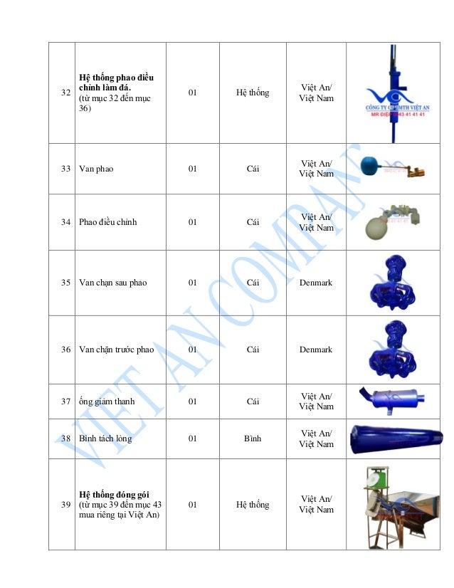 32 Hệ thống phao điều chỉnh làm đá. (từ mục 32 đến mục 36) 01 Hệ thống Việt An/ Việt Nam 33 Van phao 01 Cái Việt An/ Việt ...
