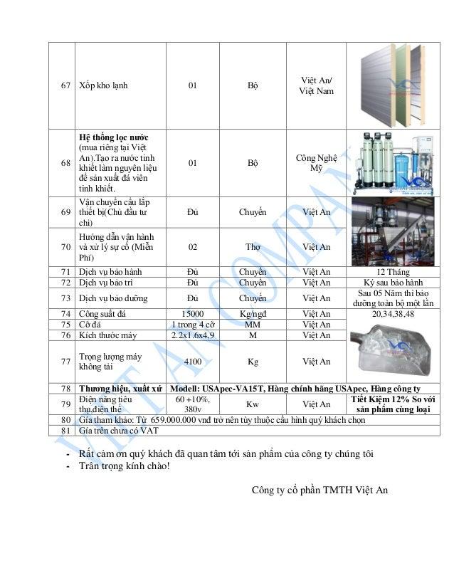 67 Xốp kho lạnh 01 Bộ Việt An/ Việt Nam 68 Hệ thống lọc nước (mua riêng tại Việt An).Tạo ra nước tinh khiết làm nguyên liệ...