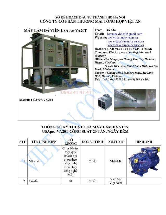 MÁY LÀM ĐÁ VIÊN USApec-VA20T ` Modell: USApec-VA20T From: Viet An Email: locnuocvietan@gmail.com Website: www.locnuocvieta...