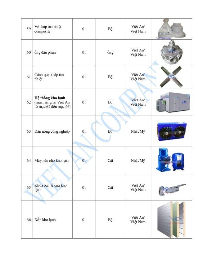 59 Vỏ tháp tản nhiệt composite 01 Bộ Việt An/ Việt Nam 60 ống đầu phun 01 ống Việt An/ Việt Nam 61 Cánh quạt tháp tản nhiệ...