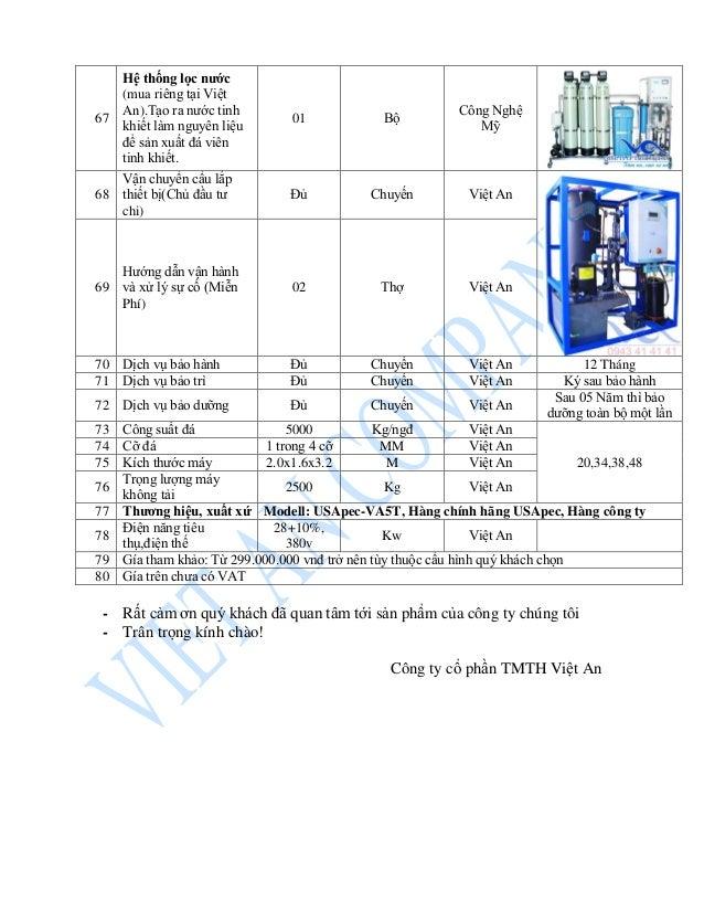 67 Hệ thống lọc nước (mua riêng tại Việt An).Tạo ra nước tinh khiết làm nguyên liệu để sản xuất đá viên tinh khiết. 01 Bộ ...