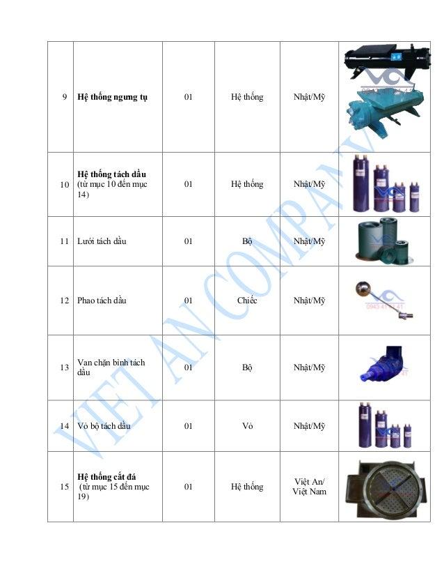 9 Hệ thống ngưng tụ 01 Hệ thống Nhật/Mỹ 10 Hệ thống tách dầu (từ mục 10 đến mục 14) 01 Hệ thống Nhật/Mỹ 11 Lưới tách dầu 0...