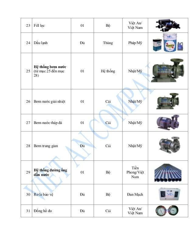 23 Fill lọc 01 Bộ Việt An/ Việt Nam 24 Dầu lạnh Đủ Thùng Pháp/Mỹ 25 Hệ thống bơm nước (từ mục 25 đến mục 28) 01 Hệ thống N...