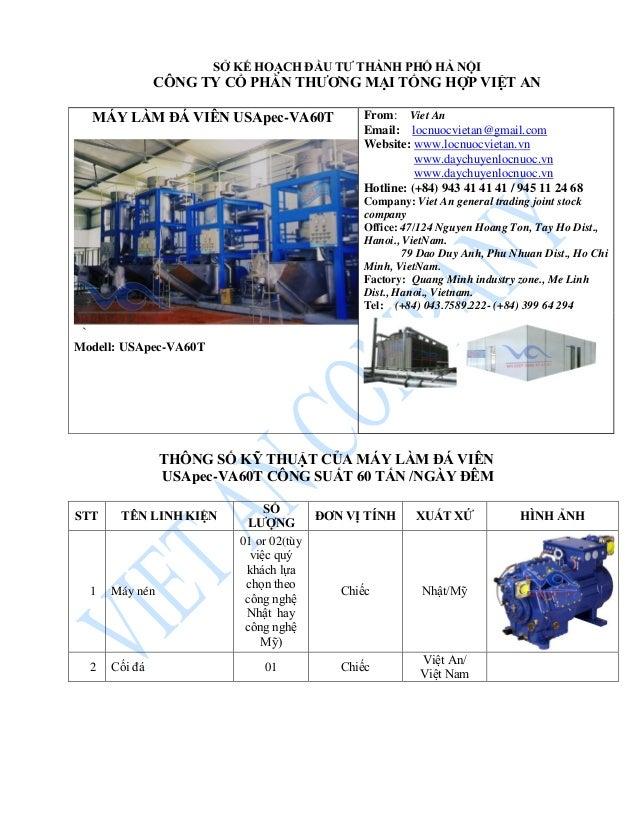 MÁY LÀM ĐÁ VIÊN USApec-VA60T ` Modell: USApec-VA60T From: Viet An Email: locnuocvietan@gmail.com Website: www.locnuocvieta...