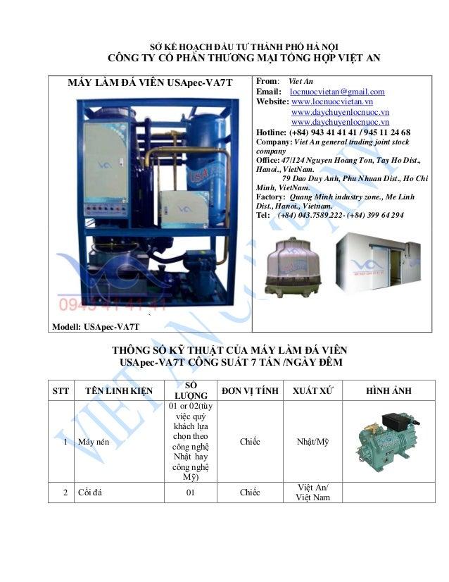 MÁY LÀM ĐÁ VIÊN USApec-VA7T ` Modell: USApec-VA7T From: Viet An Email: locnuocvietan@gmail.com Website: www.locnuocvietan....