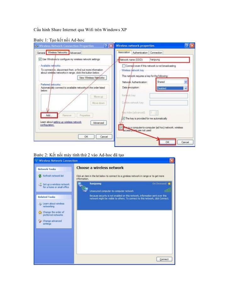 Cau hinh share internet qua wifi tren windows xp