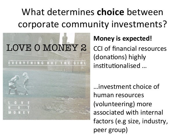 What determines choice between corporate community investments? Money is expected! CCI of financial...