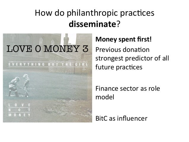 How do philanthropic prac:ces disseminate? Money spent first! Previous dona:on strongest predictor ...