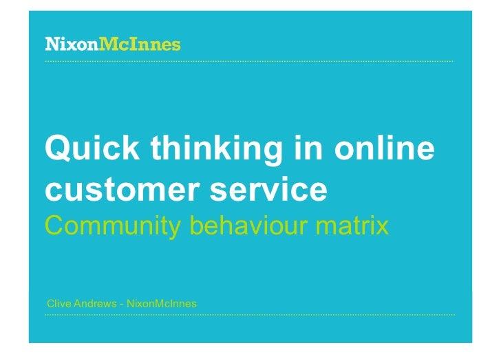 Quick thinking in onlinecustomer serviceCommunity behaviour matrixClive Andrews - NixonMcInnesPage 1 | Community behaviour...