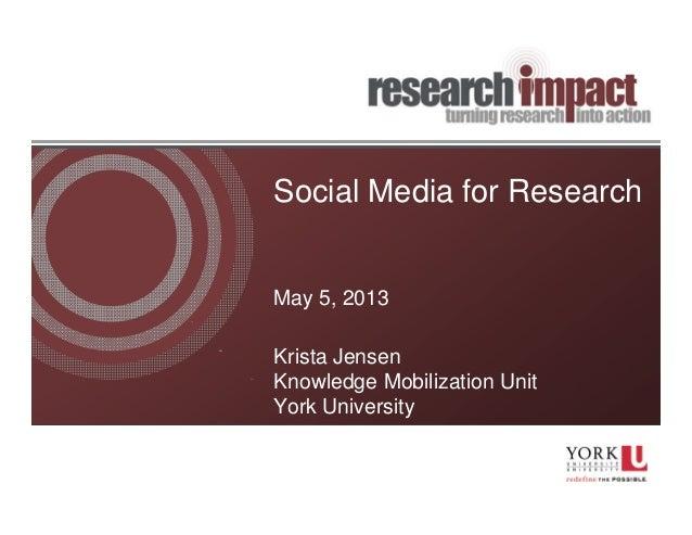 Social Media for ResearchMay 5, 2013Krista JensenKnowledge Mobilization UnitYork University
