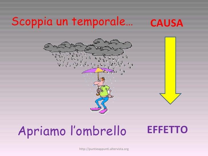 Scoppia un temporale… Apriamo l'ombrello CAUSA EFFETTO http://puntieappunti.altervista.org