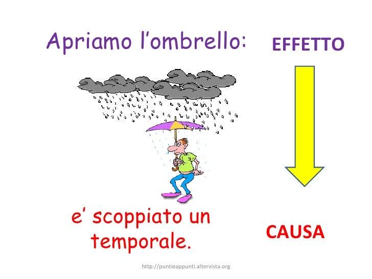 e' scoppiato un temporale. Apriamo l'ombrello: CAUSA EFFETTO http://puntieappunti.altervista.org