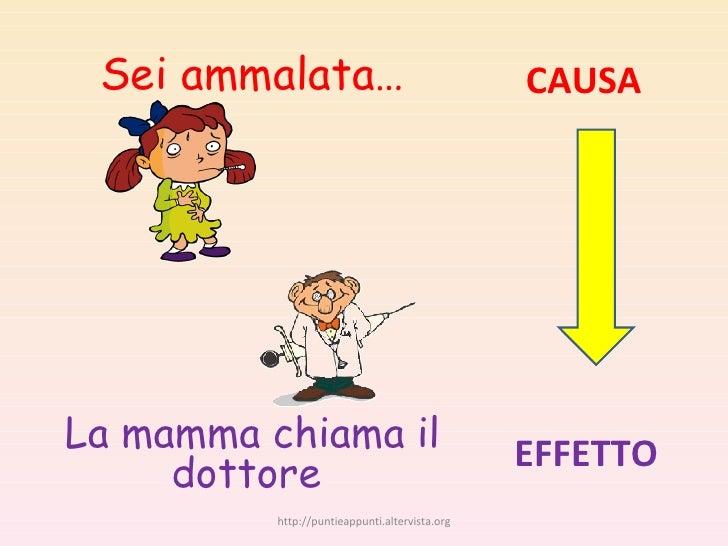 Sei ammalata… La mamma chiama il dottore  CAUSA EFFETTO http://puntieappunti.altervista.org