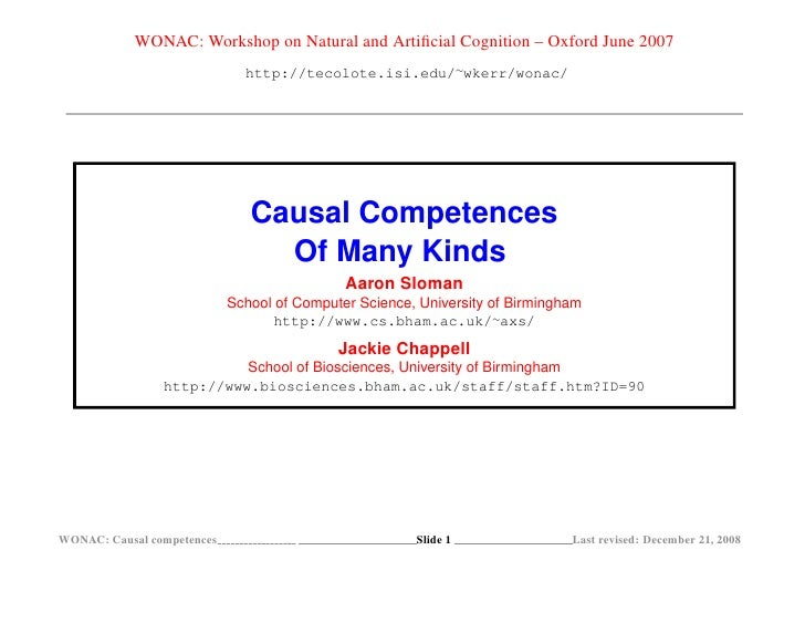 WONAC: Workshop on Natural and Artificial Cognition – Oxford June 2007                               http://tecolote.isi.ed...