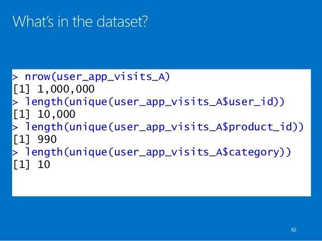 > nrow(user_app_visits_A) [1] 1,000,000 > length(unique(user_app_visits_A$user_id)) [1] 10,000 > length(unique(user_app_vi...