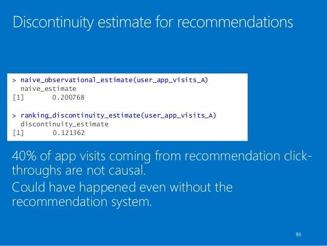 > naive_observational_estimate(user_app_visits_A) naive_estimate [1] 0.200768 > ranking_discontinuity_estimate(user_app_vi...
