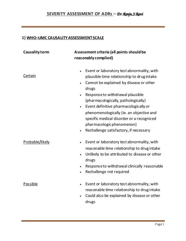 SEVERITY ASSESSMENT OF ADRs – Dr.Renju.S.Ravi Page 1 1) WHO–UMC CAUSALITY ASSESSMENTSCALE Causality term Assessment criter...