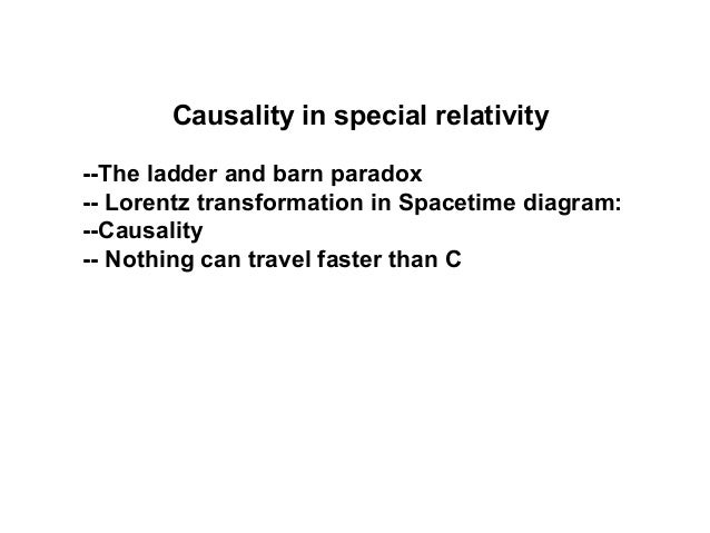 Causality in special relativity --The ladder and barn paradox -- Lorentz transformation in Spacetime diagram: --Causality ...